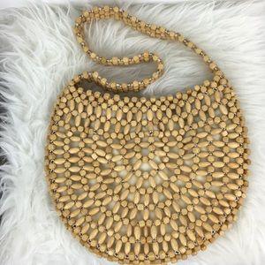 Handbags - Wooden Bead Crocheted Shoulder Handbag